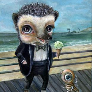 Art: Ice Cream on the Beach with Hedgy by Artist Vicky Knowles