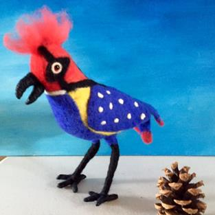 Art: Needle Felted Blue Bird by Artist Ulrike 'Ricky' Martin