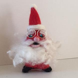 Art: Needle Felted Santa Ornament by Artist Ulrike 'Ricky' Martin