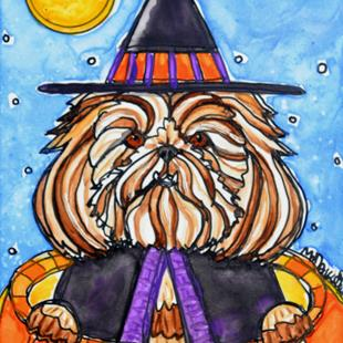 Art: Shih-tzu Witch-tzu by Artist Melinda Dalke