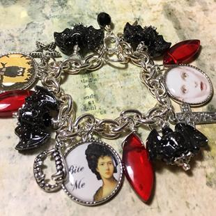 Art: Vampiress , Halloween Altered art charm bracelet by Artist Lisa  Wiktorek