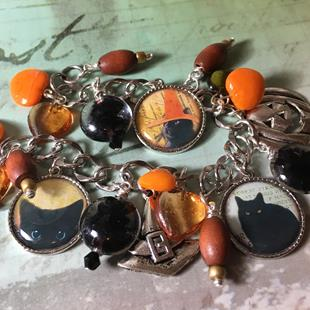Art: Halloween Black Cats , altered art charm Bracelet by Artist Lisa  Wiktorek