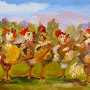 Art: Conga Chickens 3 by Artist Delilah Smith