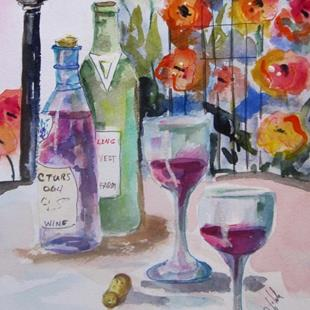Art: Roses and Wine by Artist Delilah Smith
