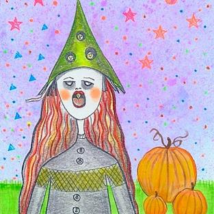 Art: Halloween Egg Witch by Artist Sherry Key