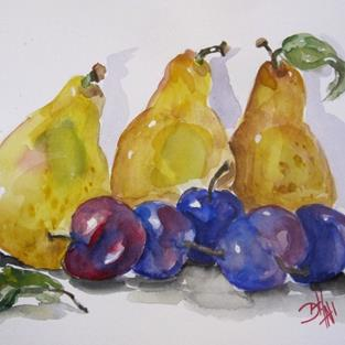 Art: Plums and Pears by Artist Delilah Smith