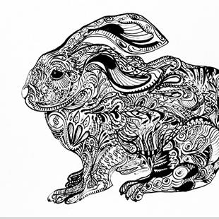 Art: Tatted Rabbit by Artist Alma Lee