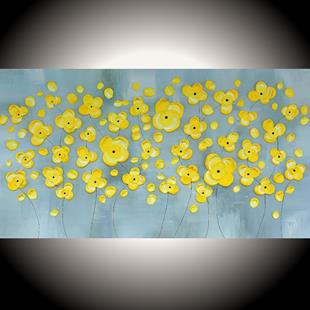 Art: Yellow Flowers on Gray II (sold) by Artist Amber Elizabeth Lamoreaux