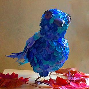 Art: Shamus, A Quirky Bluebird by Artist Alma Lee