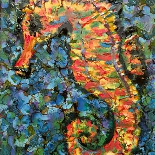 Art: Encaustic Seahorse - SOLD by Artist Ulrike 'Ricky' Martin