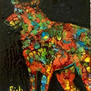 Art: Encaustic  Abstract Wolf by Artist Ulrike 'Ricky' Martin