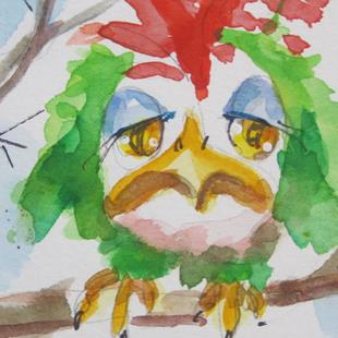 Art: Sad Snow Bird Aceo by Artist Delilah Smith