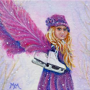 Art: Skatie - A Little Winter Angel  (SOLD) by Artist Monique Morin Matson