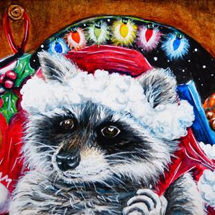 Art: Raccoon Santa Claus  (SOLD) by Artist Monique Morin Matson