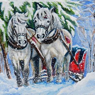 Art: Sled Horses  (SOLD) by Artist Monique Morin Matson
