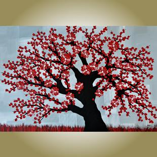 Art: Red Blossom Tree (sold) by Artist Amber Elizabeth Lamoreaux