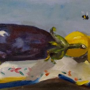 Art: Eggplant and Lemons by Artist Delilah Smith