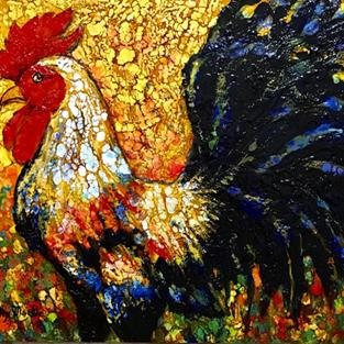 Art: Colorful Rooster by Artist Ulrike 'Ricky' Martin