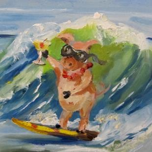 Art: Party Pig on Spring Break by Artist Delilah Smith