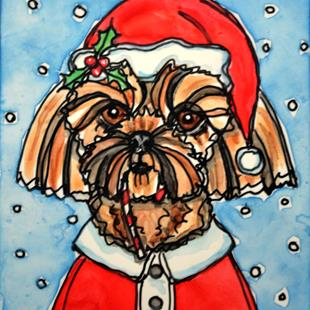 Art: Santa Shih Tzu and Candy Cane by Artist Melinda Dalke