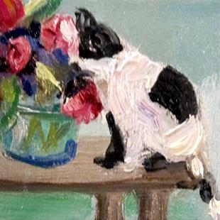 Art: BW Cat and Flowers by Artist Delilah Smith