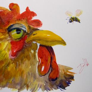 Art: Rooster and Bee by Artist Delilah Smith