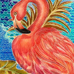 Art: Island Flamingo (SOLD) by Artist Alma Lee