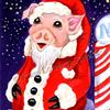 Art: Santa Piggy At the North Pole by Kim Loberg