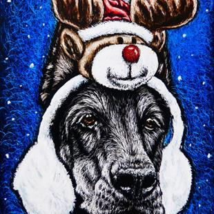 Art: Rudolph Ear Muffs  (SOLD) by Artist Monique Morin Matson