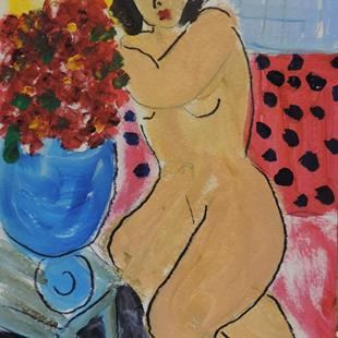 Art: nude with flowers by Artist Nancy Denommee