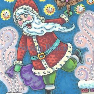 Art: DOWN THE CHIMNEY GOES JOLLY ST. NICK by Artist Susan Brack