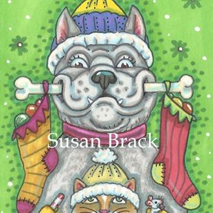 Art: LOOK WHAT SANTA BROUGHT! by Artist Susan Brack