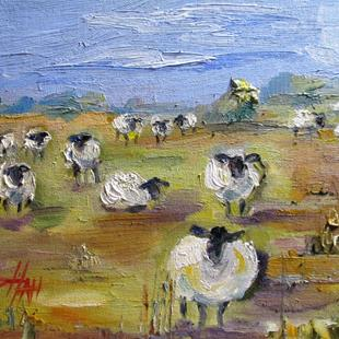 Art: Sheep in the Pasture by Artist Delilah Smith