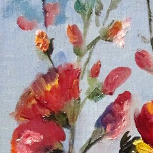 Art: Hollyhocks and Finch by Artist Delilah Smith