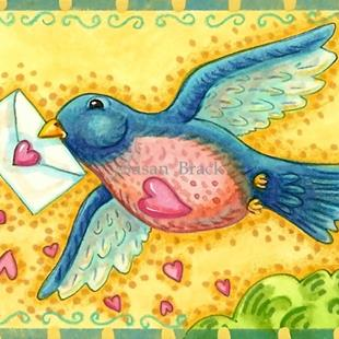 Art: A BLUE BIRD DELIVERY by Artist Susan Brack
