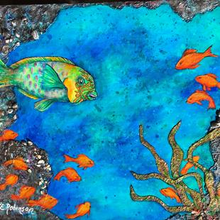 Art: BLACK CORAL CAVE -PARROT FISH 24x36 by Artist Ke Robinson