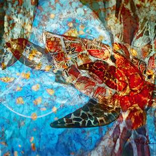 Art: Sea Turtle abstract remake by Artist Alma Lee