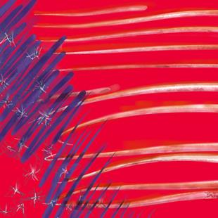 Art: Shocking Red White & Blue by Artist Art ByGeorge!