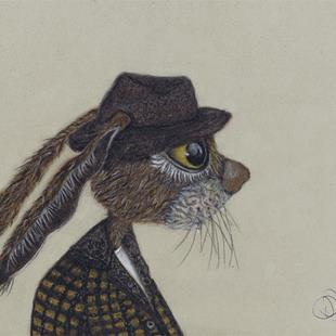 Art: HARE IN HAT h3068 by Artist Dawn Barker