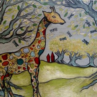 Art: The Giraffe and Dragonflies by Artist Chris Jeanguenat
