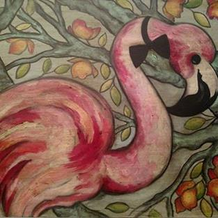 Art: A Flamingo and His Bow Tie by Artist Chris Jeanguenat