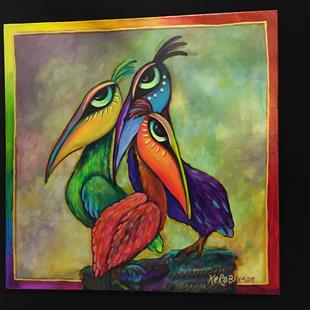 Art: 3 Pelicans - SOLD by Artist Ke Robinson