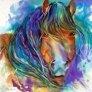 Art: BUCKY the MUSTANG in WATERCOLOR by Artist Marcia Baldwin