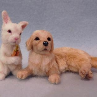 Art: Golden Retriever Puppy and Bunny by Artist Camille Meeker Turner