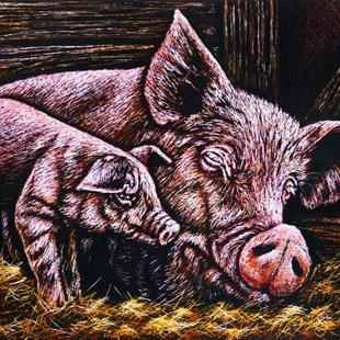 Art: Mommy & Piggy  (SOLD) by Artist Monique Morin Matson