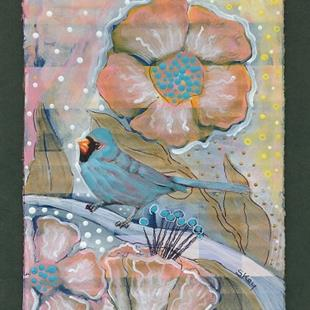 Art: Bluebird and Flowers by Artist Sherry Key