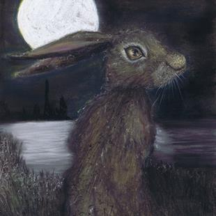 Art: MOONLIGHT HARE h3316 by Artist Dawn Barker