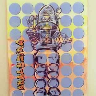 Art: Robbie the Robot Original Graffiti Pop Art 16 20 by Artist Paul Lake, Lucky Studios