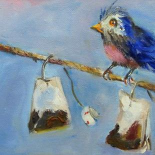 Art: Bird on a Line with Tea Bags-sold by Artist Delilah Smith
