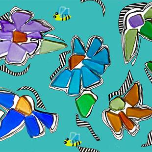 Art: Sea glass flowers by Artist Alma Lee